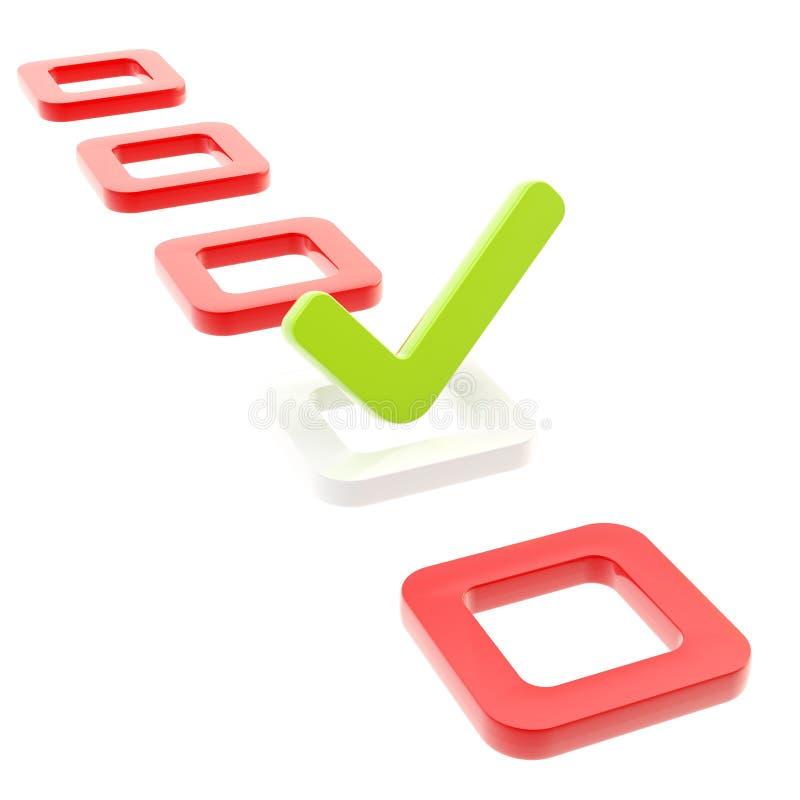 Pour faire la liste, faites tic tac dans le cadre de contrôle d'isolement illustration stock