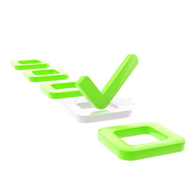 Pour faire la liste, faites tic tac dans le cadre de contrôle vert illustration stock