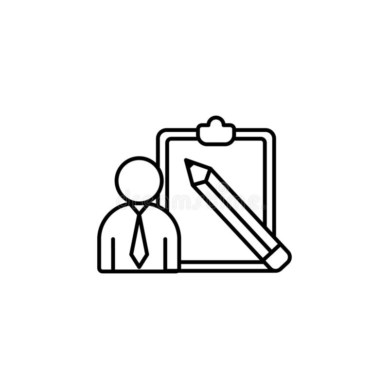 Pour faire la liste, homme, icône de stylo Élément de ligne icône de concentration illustration de vecteur