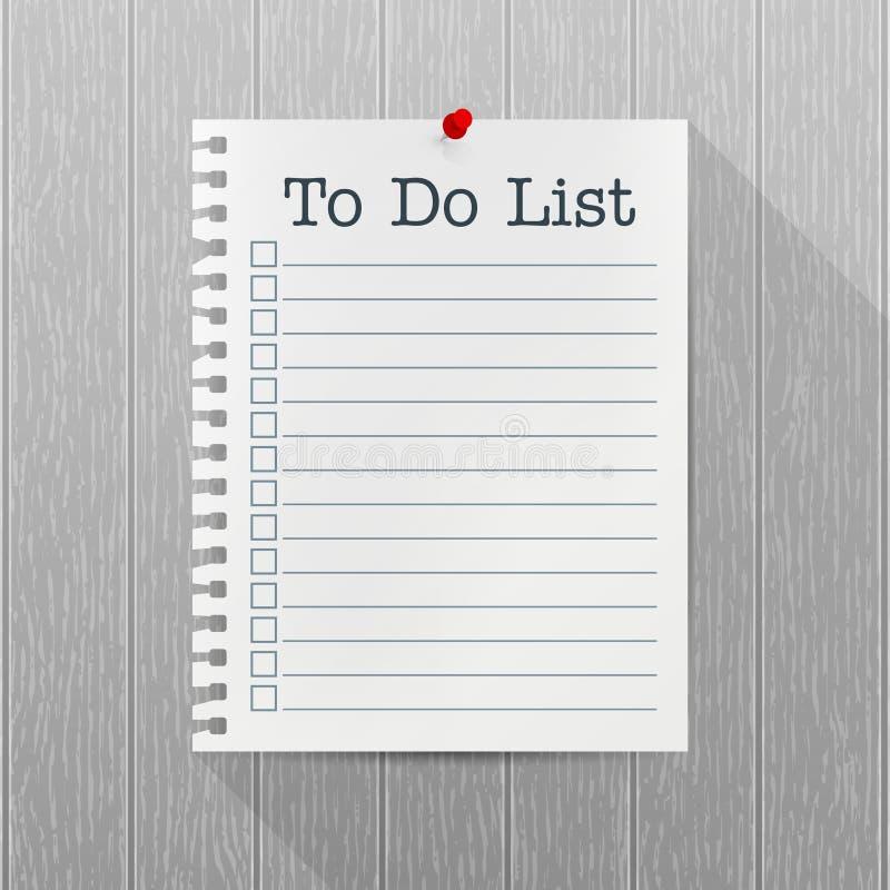 Pour faire la maquette de vecteur de liste Feuille de papier avec une goupille accrochant sur un mur en bois gris Blanc vide Text illustration stock