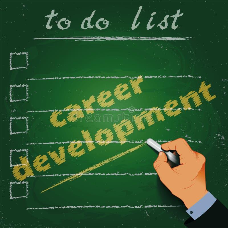Pour faire le développement de la vie professionnelle de liste marquez à la craie sur une main du tableau noir 3d illustration libre de droits