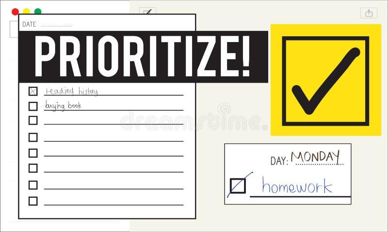 Pour faire le rappel de gestion du temps de liste donnez la priorité au concept illustration stock