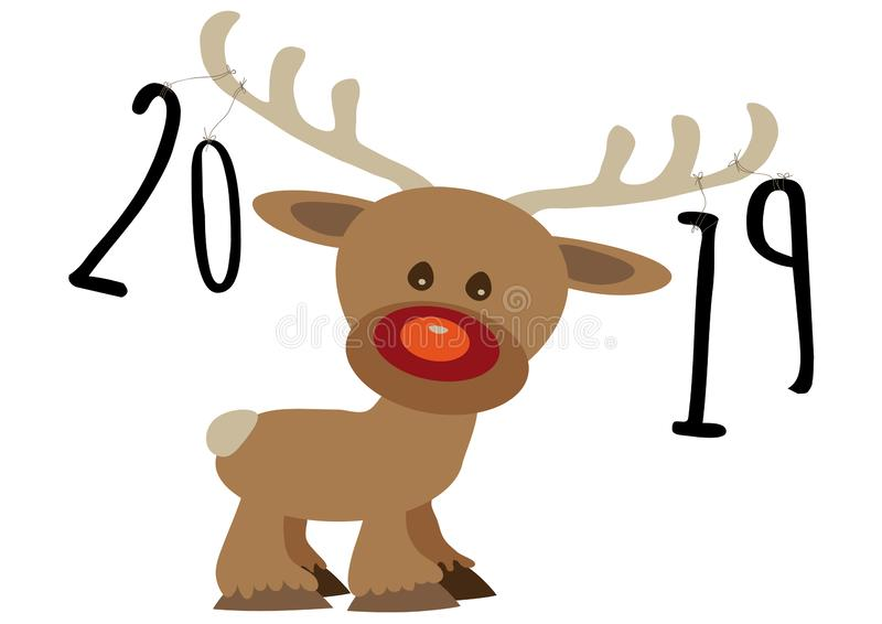 Pour feliciter card, year numbers 2019 tied by a strings on reindeers stock photo