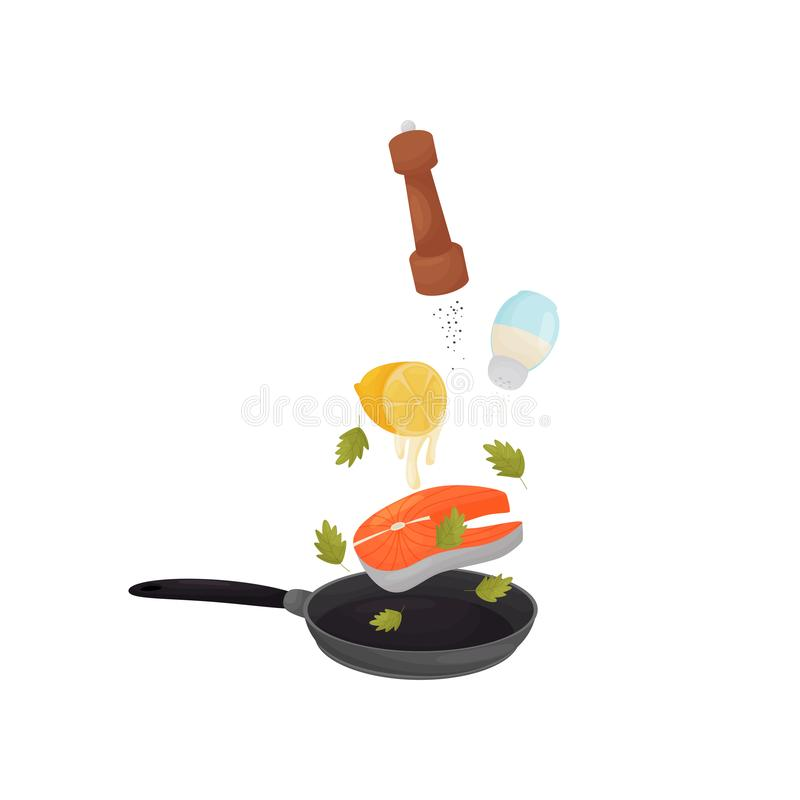 Pour fish, lemon juice, pepper and salt in a frying pan. Vector illustration. Fry fish with lemon juice in a frying pan. Sprinkle with pepper and salt. Vector vector illustration