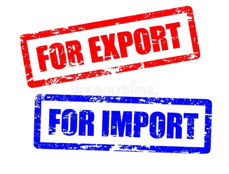 Pour l'importation et pour des estampilles d'exportation illustration de vecteur