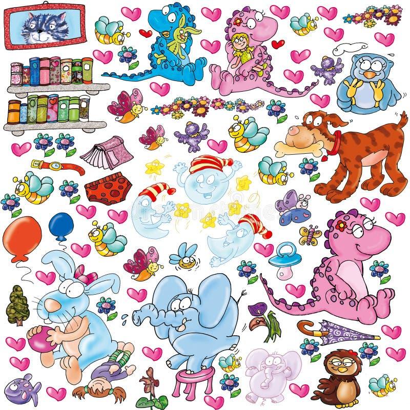 Pour la fenêtre animale d'autocollants de jardins d'enfants illustration stock