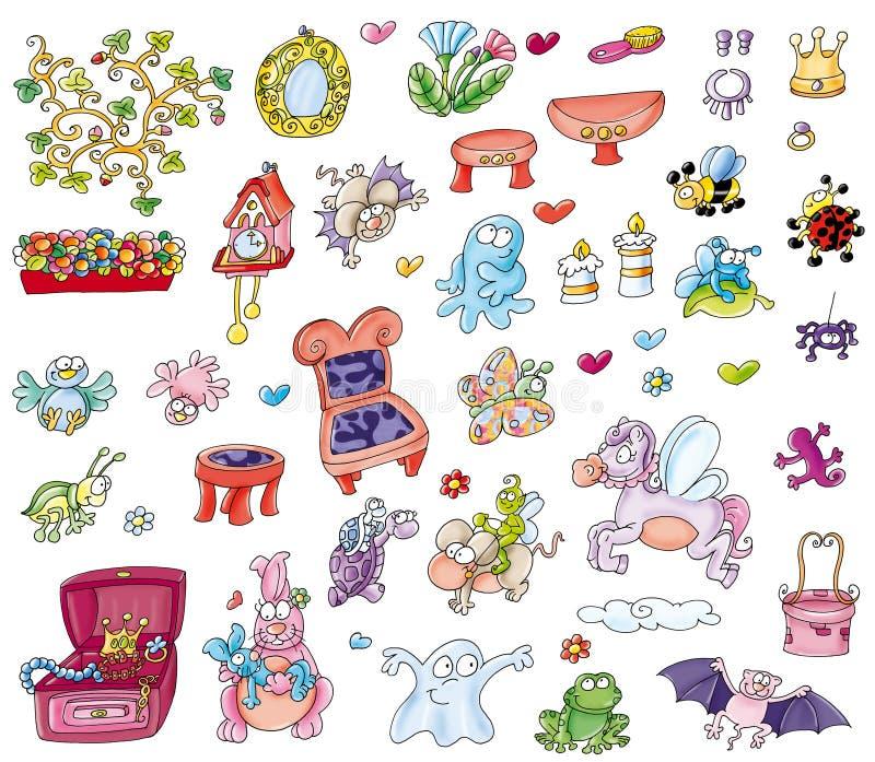 Pour la fenêtre animale d'autocollants de jardins d'enfants illustration libre de droits