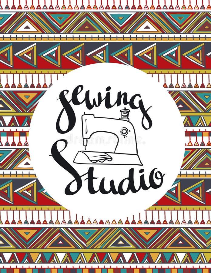 Pour le logo de couture de studio, le T-shirts conçoit ou des affiches Type indien illustration libre de droits