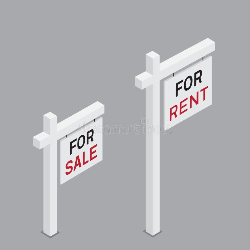 Pour le signe isométrique de loyer et de vente illustration libre de droits