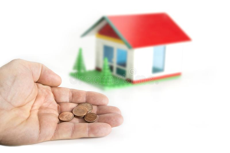 Pour man is dreaming about the house. Poverty concept. royalty free stock photos