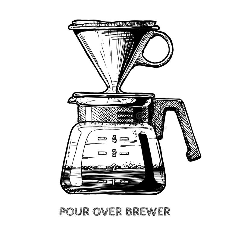 Pour over brewer royalty free illustration
