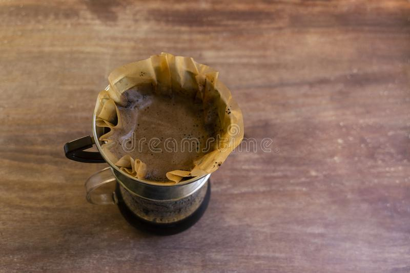 Pour Over Hand Drip Brewed Coffee stock photos