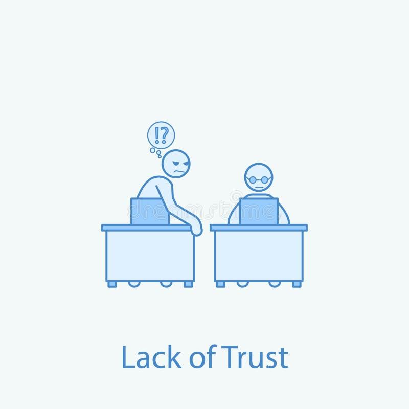 pour perdre la confiance en discrimination raciale icône du collègue 2 Illustration simple d'élément coloré Conception de symbole illustration libre de droits