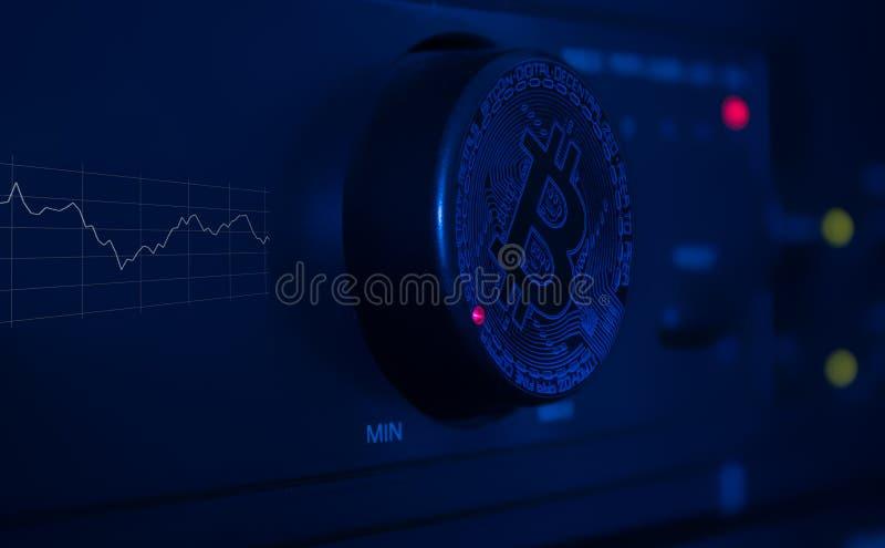 Pour placer un bitcoin évaluez le graphique avec l'élément de contrôle image libre de droits