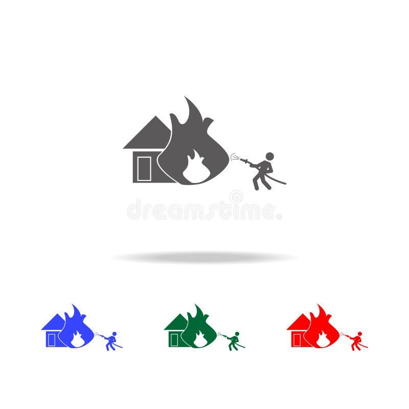 pour s'éteindre une maison avec une icône de tuyau Éléments des icônes colorées multi de sapeur-pompier Icône de la meilleure qua illustration libre de droits