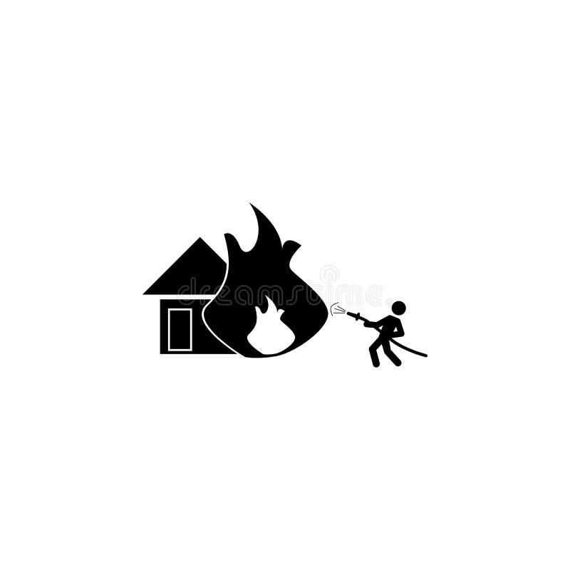 pour s'éteindre une maison avec une icône de tuyau Icône d'élément de pompier illustration stock