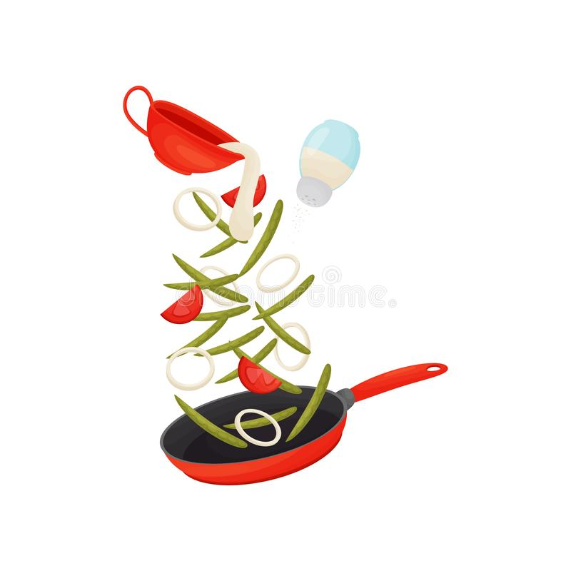 Pour the vegetables in a red frying pan. Vector illustration on white background. Green bean pods are fried with vegetables in a red frying pan. Pour the sauce royalty free illustration