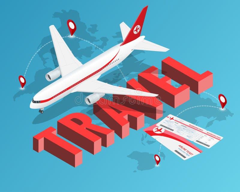 Pour voyager est de vivre Avion de billets et de passager Notre bannière de destinations de voyage Concept de luxe isométrique de illustration stock
