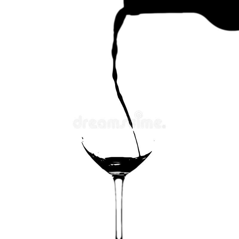 Pour the wine into a glass royalty free stock photos