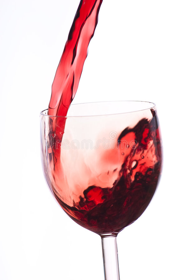 Download Pour The Wine Into The Glass On A White Background Stock Image - Image: 8576739
