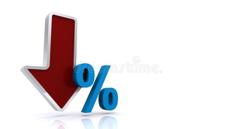Pourcentage en baisse illustration de vecteur