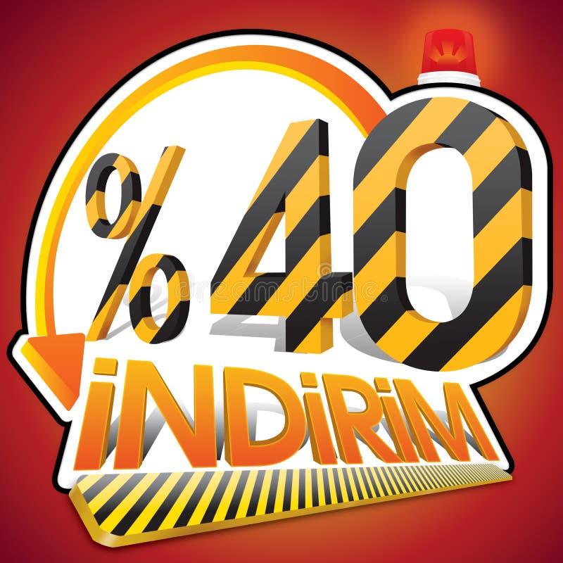 Pourcentage turc 40 d'échelle de remise Quarante pour cent Orthographe turque illustration stock