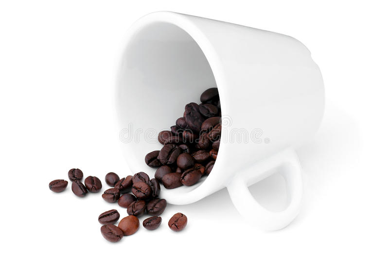 Poured out coffee beans. stock image