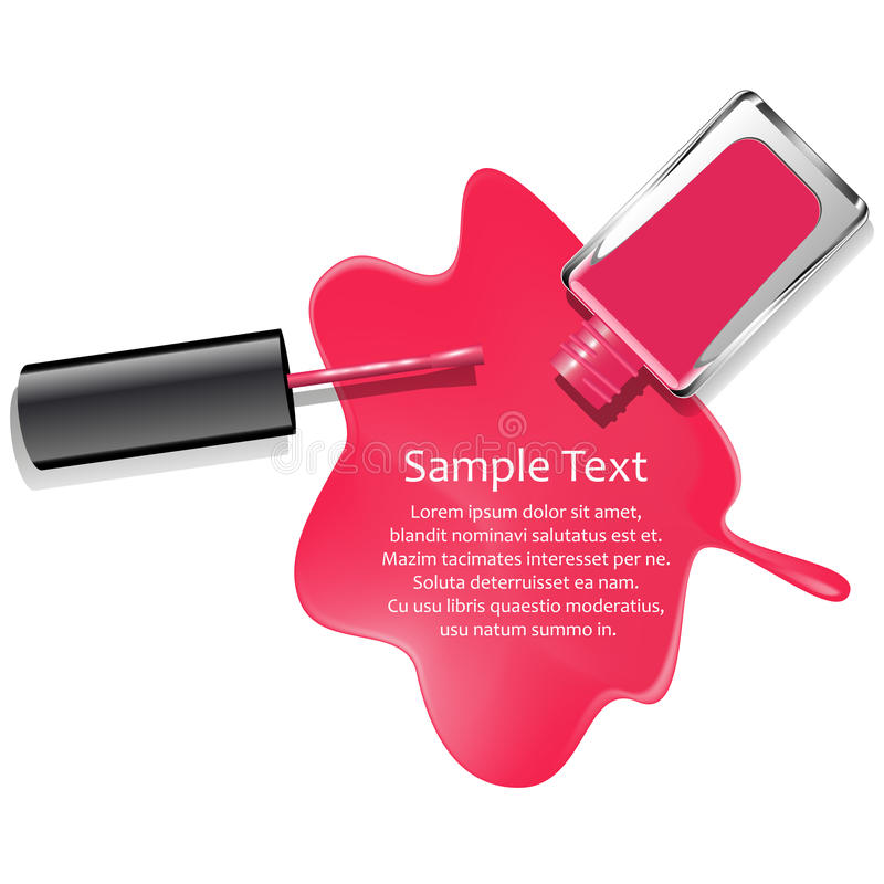 Poured pink nail lacquer background vector illustration
