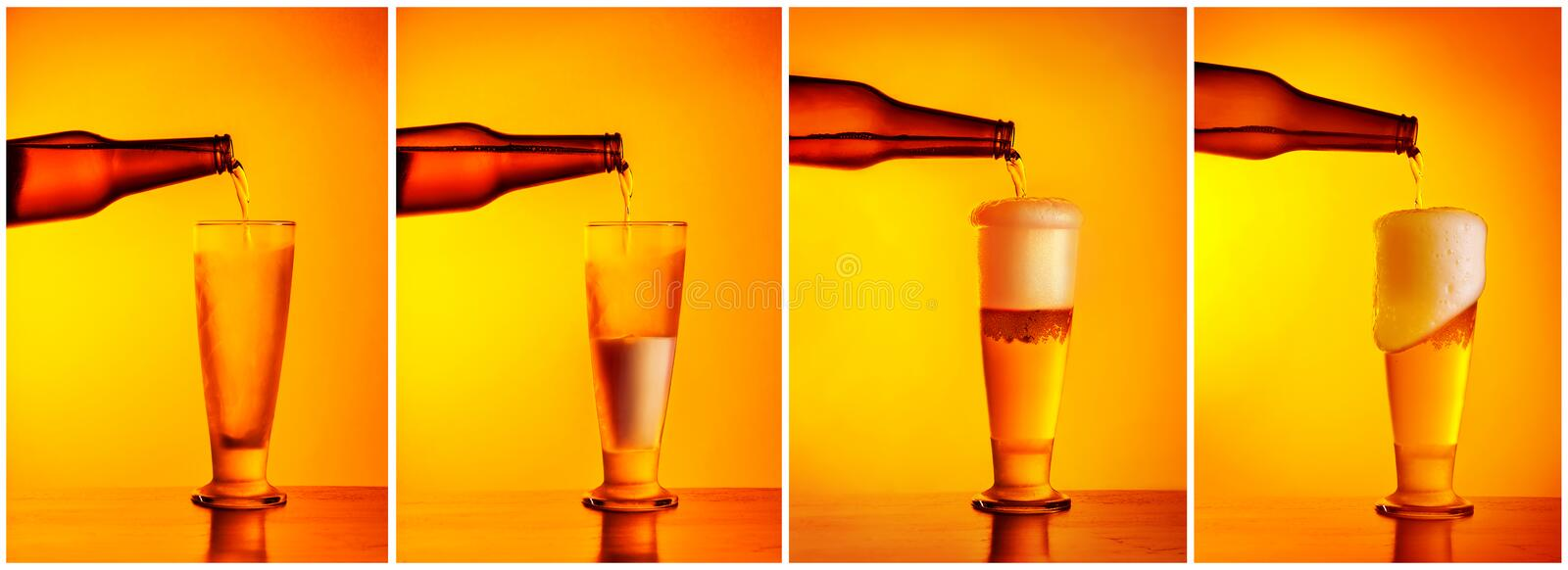 Pouring beer sequence collage. Four photos of a beer glass, refill concept, pub menu, oktoberfest holiday still life royalty free stock photos