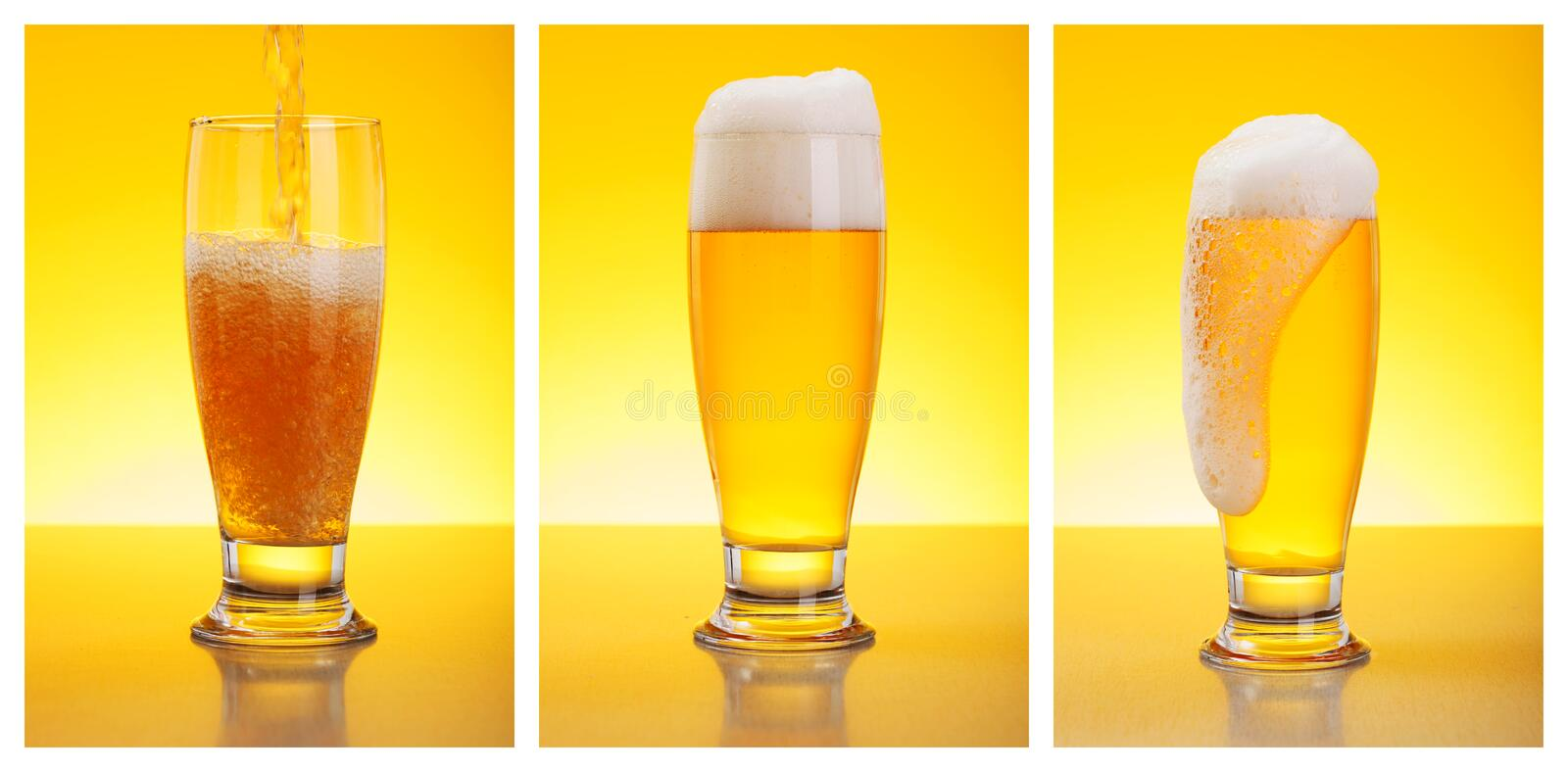 Pouring Beer. Three steps of pouring beer in glass royalty free stock photos