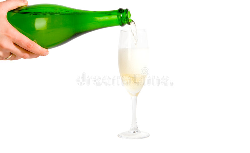 Pouring champagne stock photos