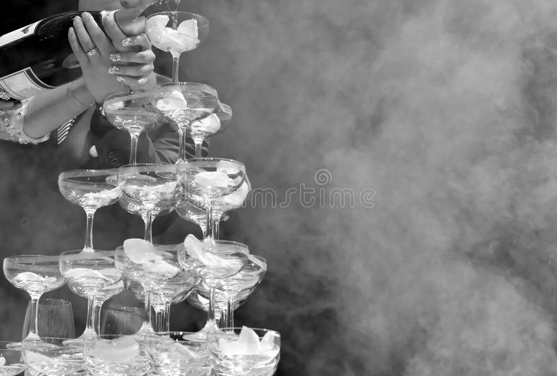 Pouring champagne ceremony stock photo