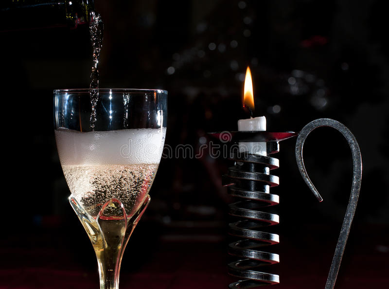 Download Pouring Champagne In A Glass Stock Photo - Image of year, glass: 17624402