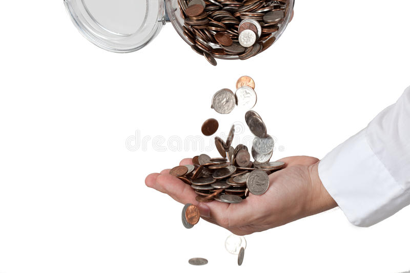 Download Pouring change stock photo. Image of quarters, round - 10322072