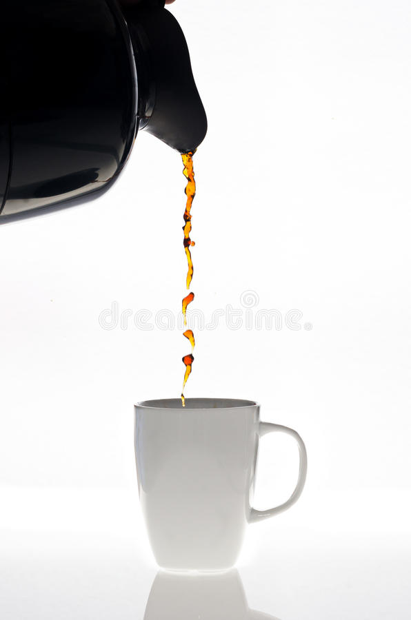 Pouring coffee stock photos