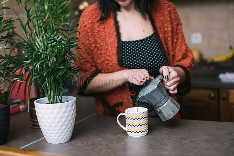 Pouring coffee stock images
