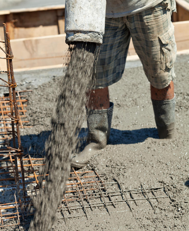 Pouring concrete royalty free stock photo