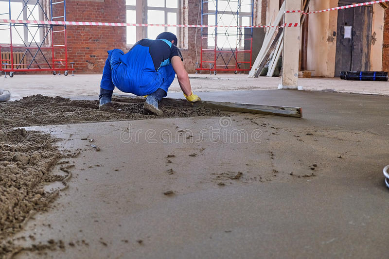 Pouring the concrete floor stock images