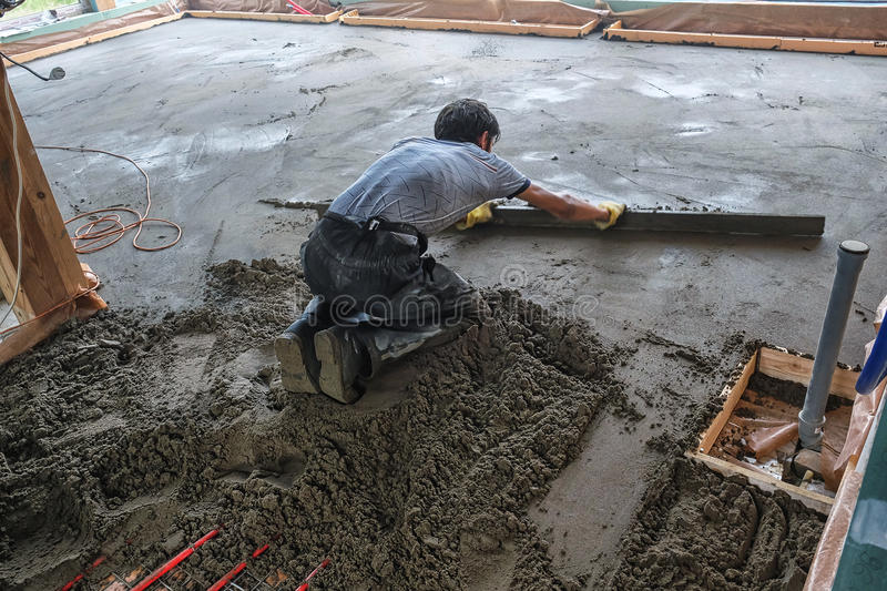 Pouring the concrete floor royalty free stock image
