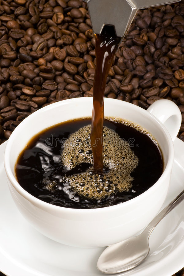 Download Pouring a cup of coffee stock image. Image of spout, bubbles - 6129421