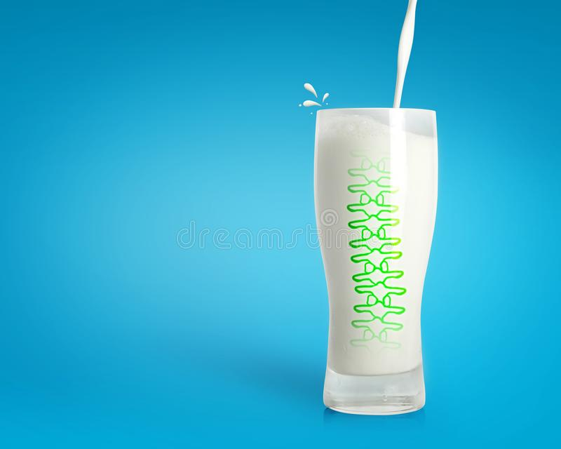 Pouring fresh milk in glass with strong spine on blue background. Healthy drink background. Milk background stock photography