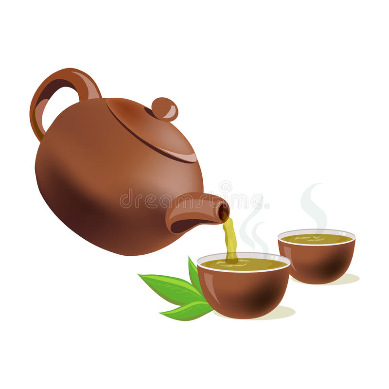 Pouring green tea in cups. Vector illustration vector illustration