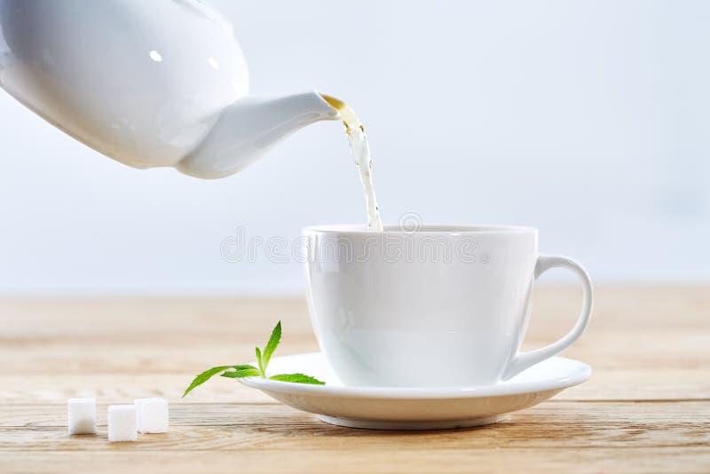 Pouring green tea from white ceramic teapot stock image