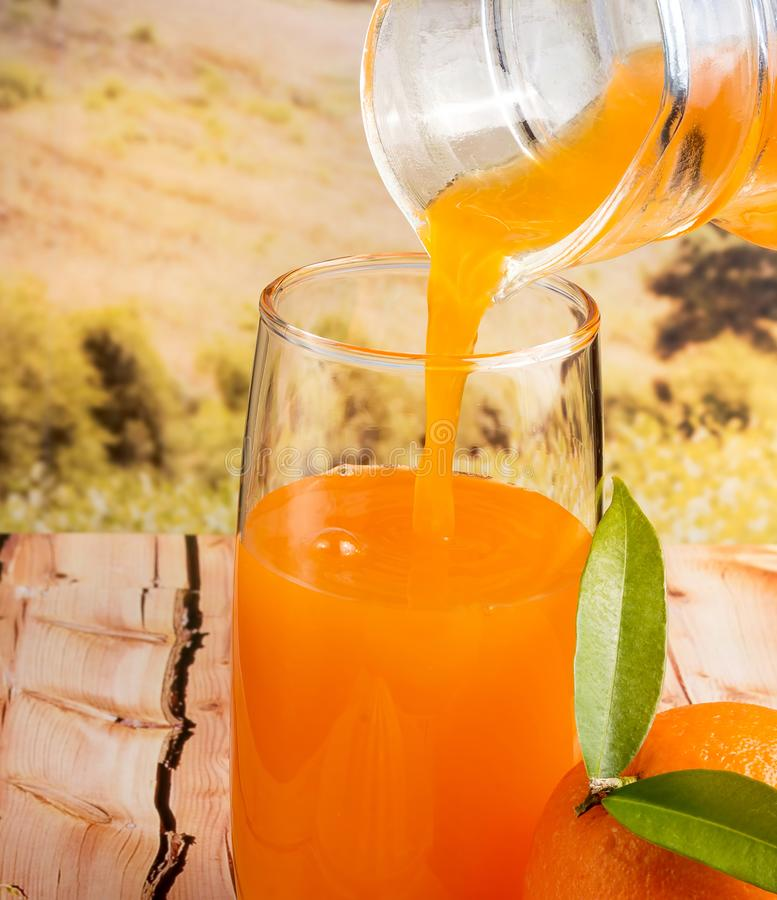Pouring Orange Juice Means Healthy Eating And Beverages stock photography