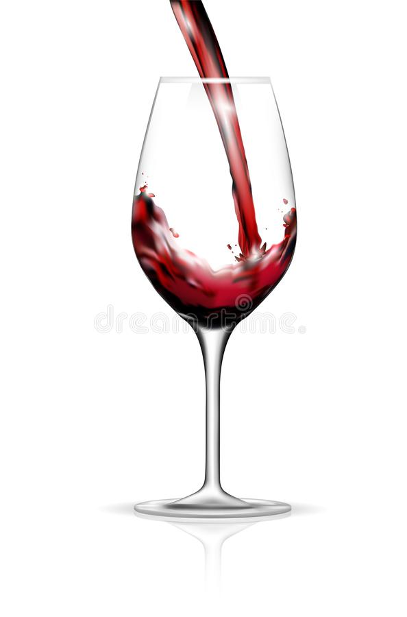 Pouring red wine into glass. Isolated on white background - vector illustration stock illustration