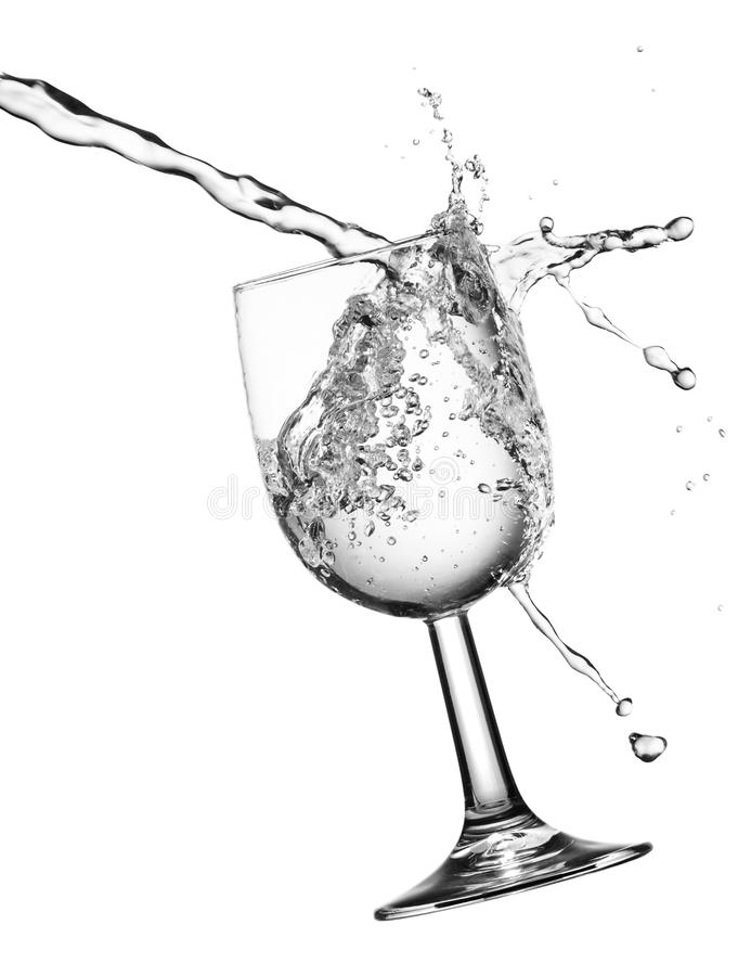 Pouring water. With droplets, isolated on a white background stock images