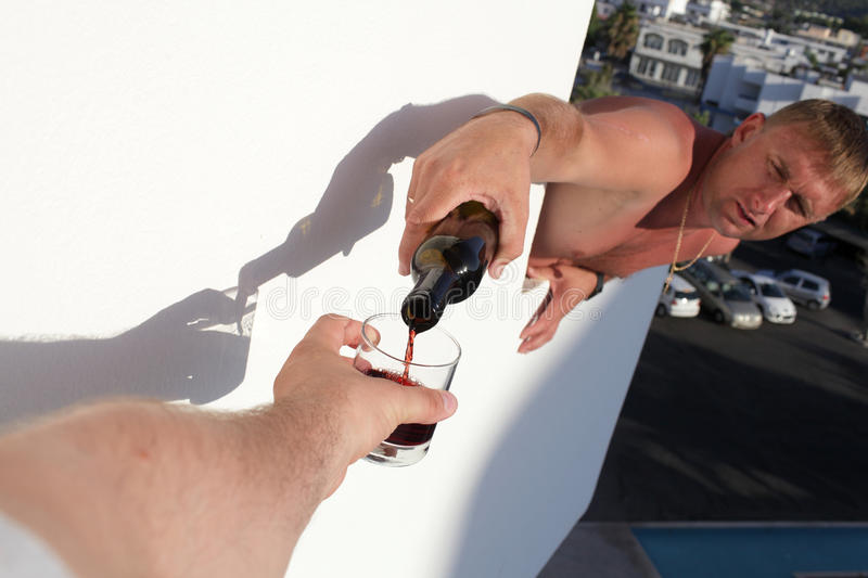 Download Pouring of wine on balcony stock image. Image of lifestyle - 27223477