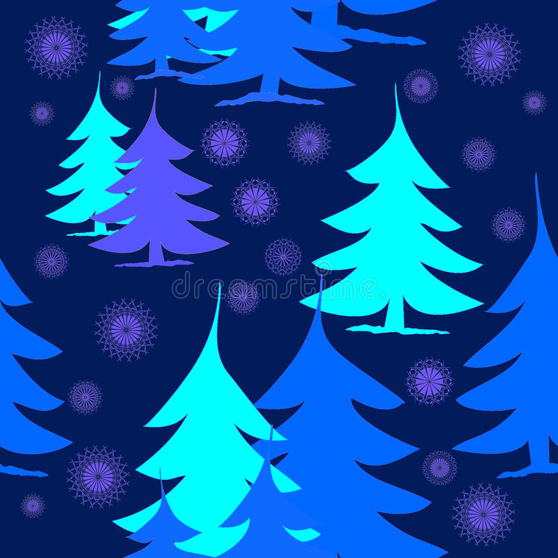 Pourpre bleu de turquoise de sapins abstraits sur bleu-foncé avec les flocons de neige pourpres illustration stock
