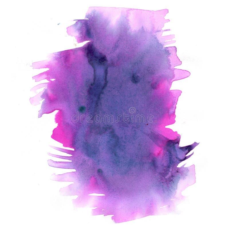 Pourpre d'éclaboussure d'aquarelle, rose la baisse abstraite d'aquarelle a isolé la tache pour votre art de conception illustration stock