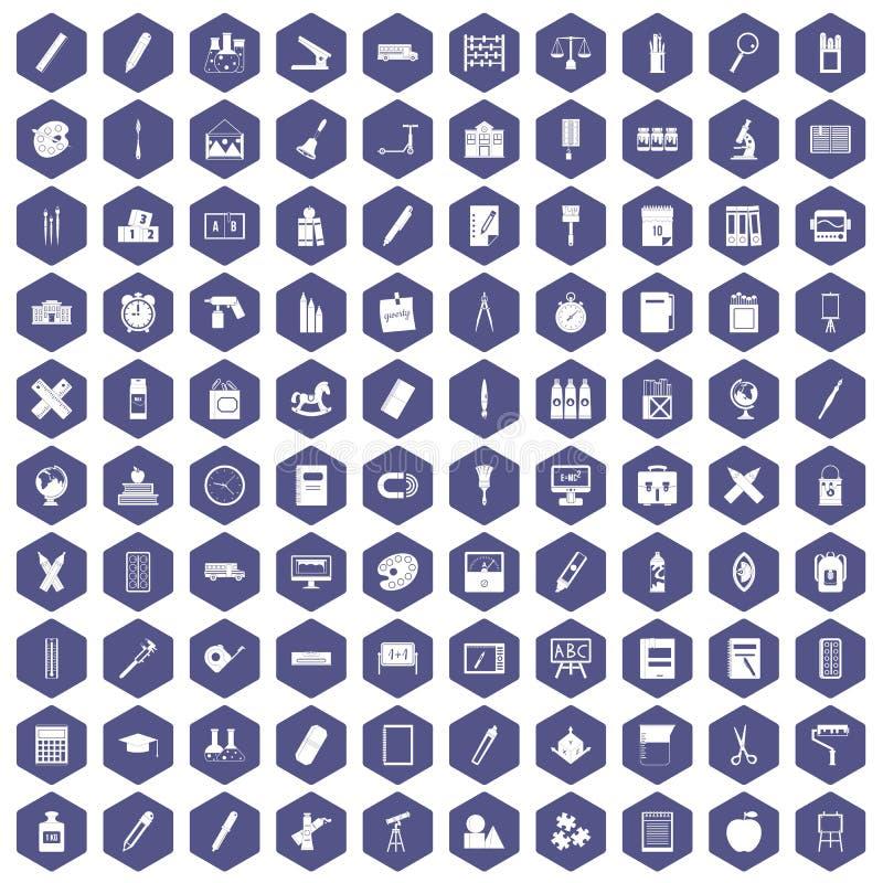 pourpre d'hexagone de 100 icônes de papeterie illustration stock